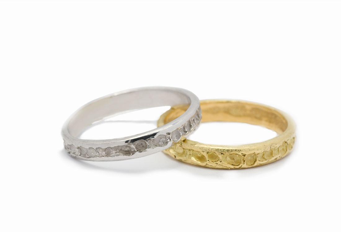 FEDI CRATERI: realizzate a mano in oro 18Kt , lavorazione Sforza. Disponibili in  oro verde e  oro bianco.