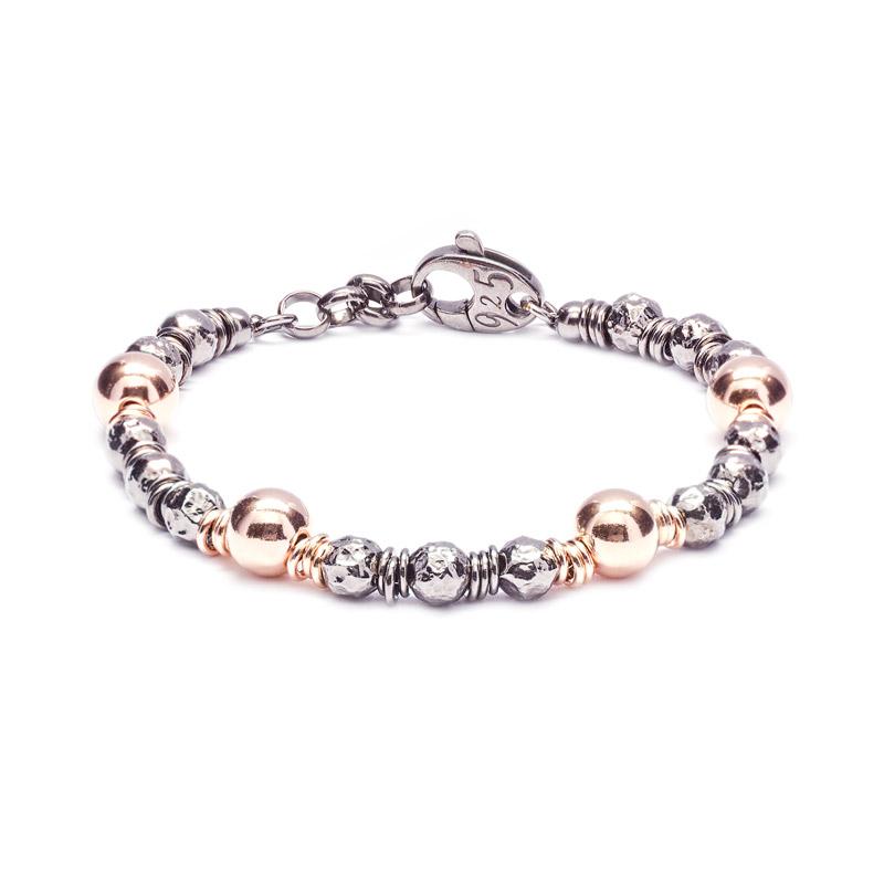 BRACCIALE SFERE: argento 925 dorato rosa e brunito, nickel free, finitura lucida