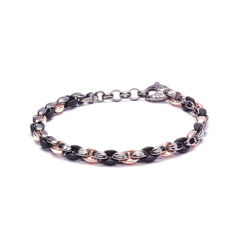 BRACCIALE CAUCCIU': argento 925 dorato rosa, nickel free, caucciù colore nero, finitura lucida