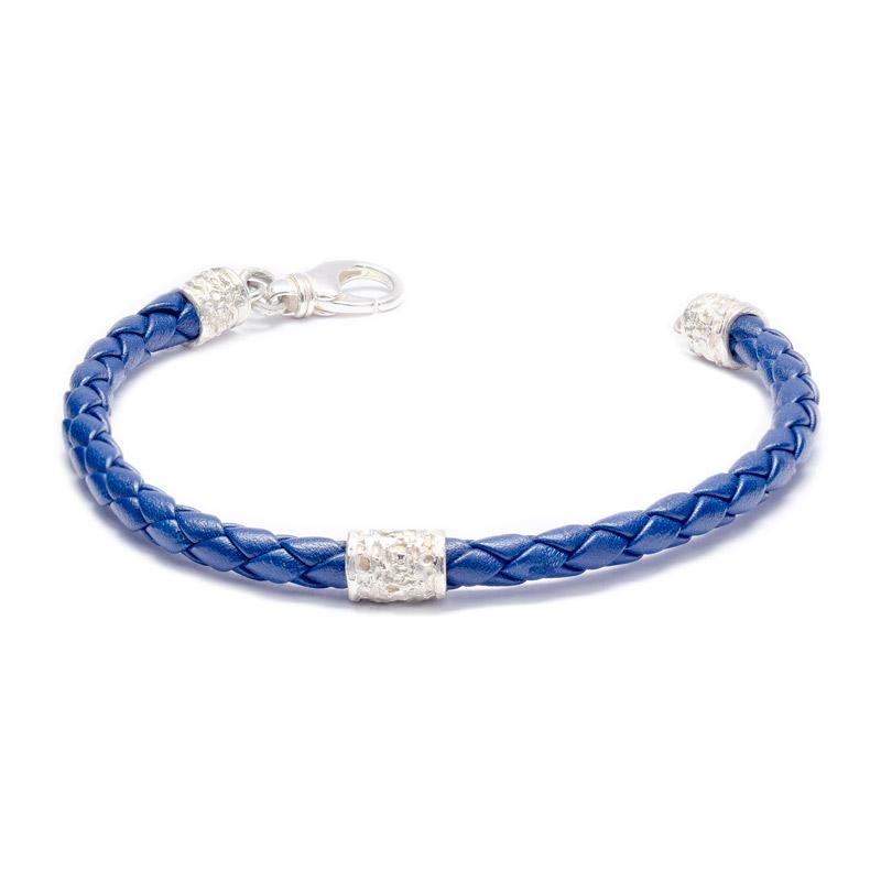 BRACCIALE SCUBIDU': argento 925, nickel free, vera pelle intrecciata, colore blu, realizzato a mano, lavorazione Sforza