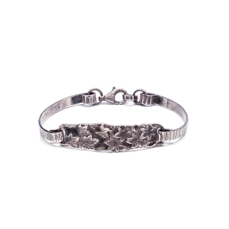 BRACCIALE SEMIRIGIDO FOGLIE EDERA: argento 925, nickel free, realizzato a mano, lavorazione Sforza
