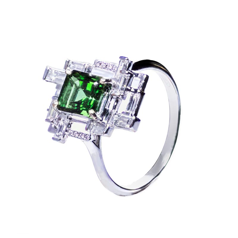 Smeraldo diamanti e oro bianco