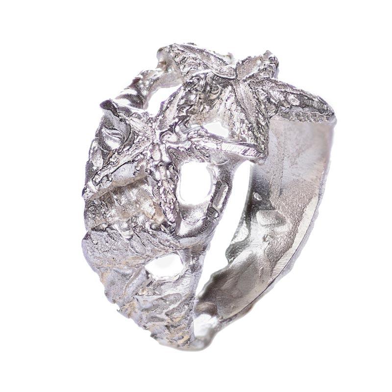 anello argento 925 stelle marine