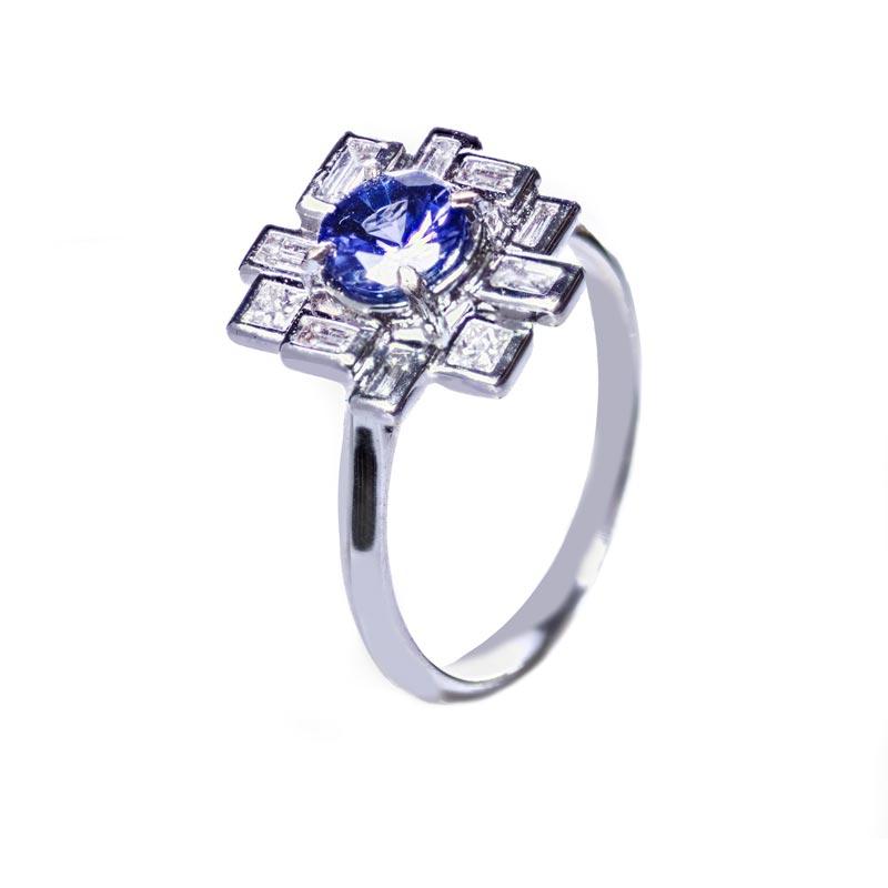 zaffiro e diamanti anello donna