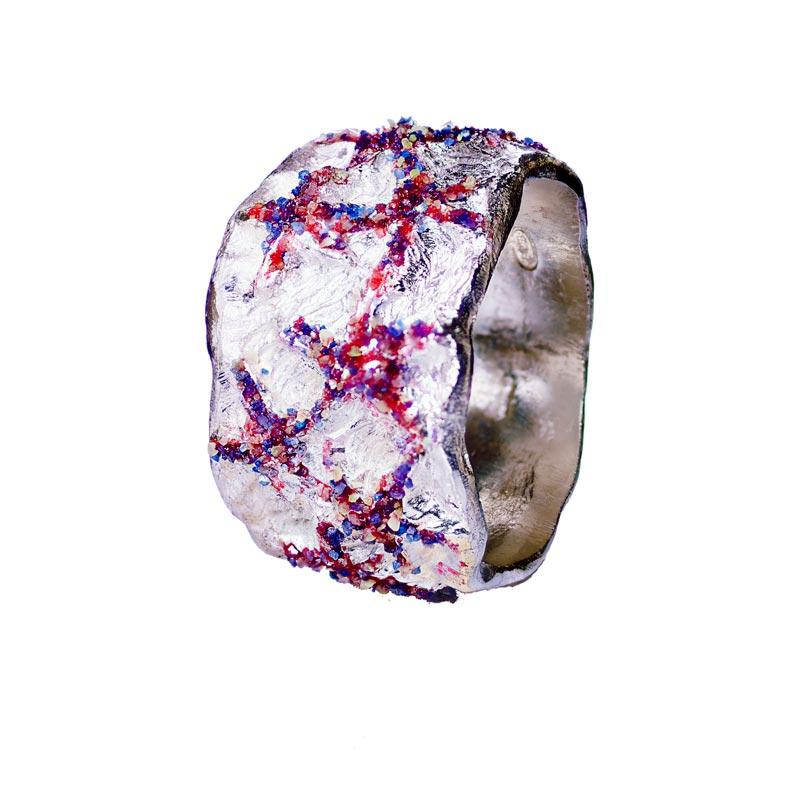 anello argento stelle di mare rosse