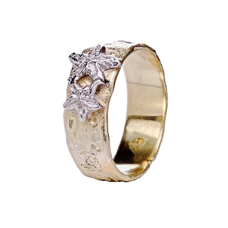 anello oro stelle marine lavorazione artigianale